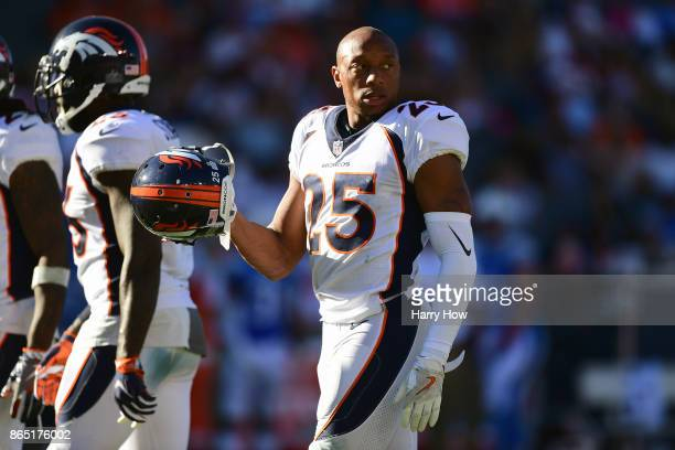 Chris Harris of the Denver Broncos is seen during the game against the Los Angeles Chargers at the StubHub Center on October 22 2017 in Carson...