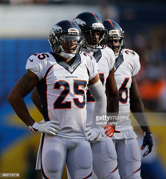 Chris Harris of the Denver Broncos stands between plays during a game against the Denver Broncos at Qualcomm Stadium on December 6 2015 in San Diego...
