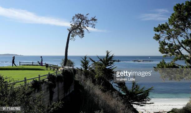 Chris Harrison plays his shot from the fifth tee during the Final Round of the ATT Pebble Beach ProAm at Pebble Beach Golf Links on February 11 2018...