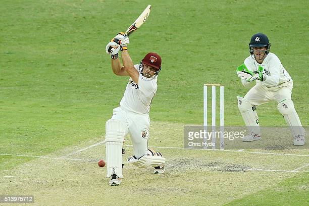 Chris Hartley of Queensland bats during day two of the Sheffield Shield match between Queensland and Victoria at The Gabba on March 6 2016 in...