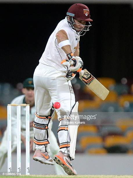 Chris Hartley of Queensland is struck by the ball during day two of the Sheffield Shield match between Queensland and Tasmania at The Gabba on...