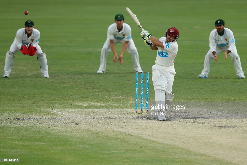 Chris Hartley of the Bulls bats during day four of the Sheffield Shield match between the Queensland Bulls and the Tasmanian Tigers at The Gabba on March 10, 2013 in Brisbane, Australia.