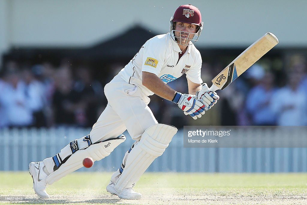 Chris Hartley of the Bulls bats during day three of the Sheffield Shield match between the South Australia Redbacks and the Queensland Bulls at Glenelg Oval on November 1, 2013 in Adelaide, Australia.