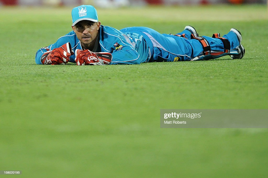 Chris Hartley of the Heat looks on during the Big Bash League match between the Brisbane Heat and the Hobart Hurricanes at The Gabba on December 9, 2012 in Brisbane, Australia.