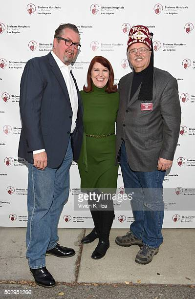 Chris Haston actress Kate Flannery and Shriners Hospitals for Children Ð Los Angeles board chairman David R Doan attend Celebrities Decorate The...