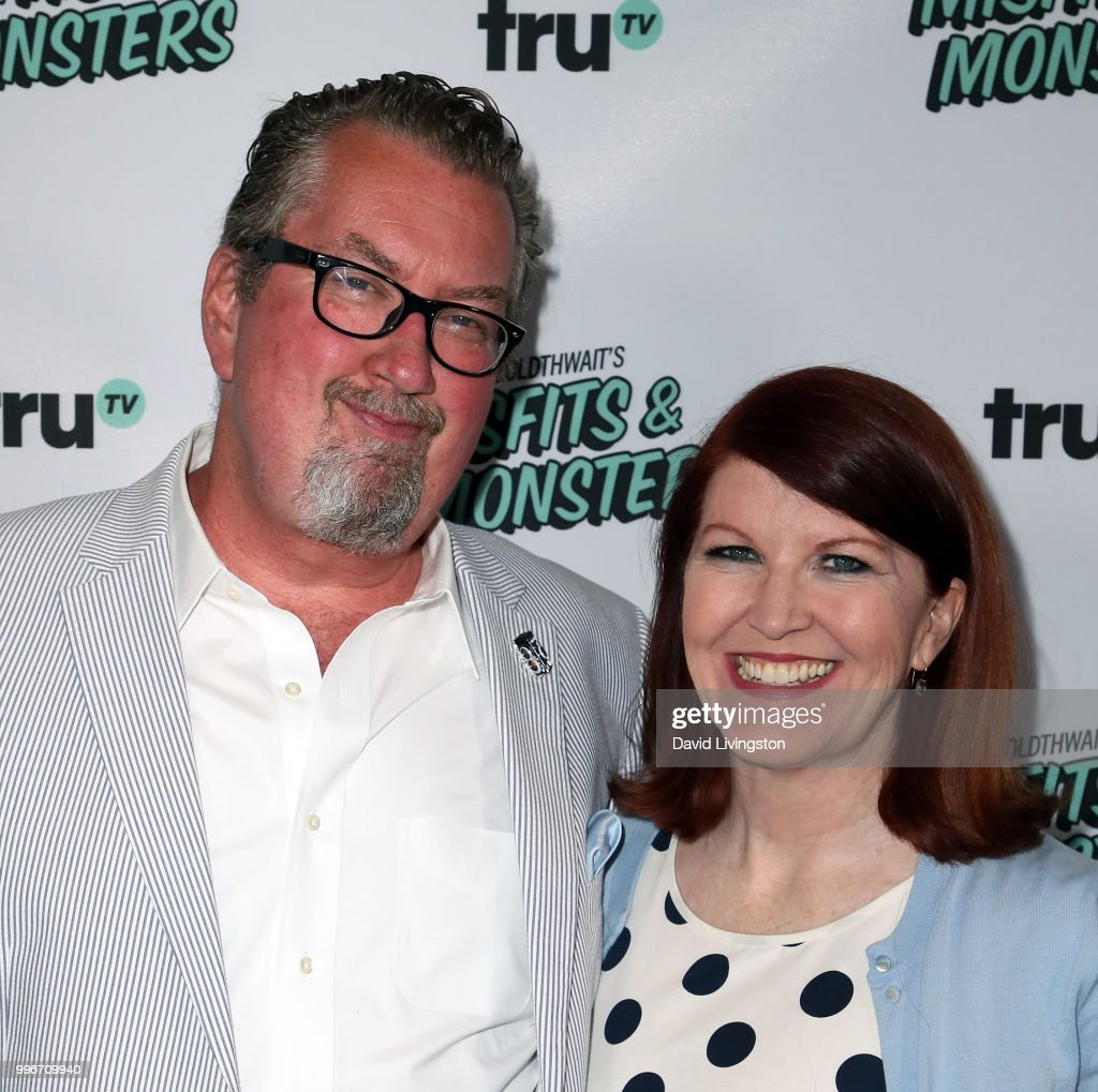 Chris Haston (L) and actress Kate Flannery attend the premiere of truTV's 'Bobcat Goldthwait's Misfits & Monsters' at the Hollywood Roosevelt Hotel on July 11, 2018 in Hollywood, California.