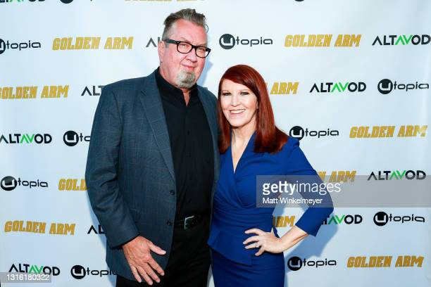 """Chris Haston and Kate Flannery attends Utopia Films presents """"Golden Arm"""" premiere at Palm Sophia Rooftop on April 30, 2021 in Culver City,..."""