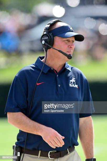 Chris Hatcher head football coach Samford University Bulldogs watches from the sideline in the Southern Conference game against the Wofford College...