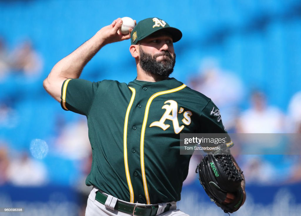 Chris Hatcher #44 of the Oakland Athletics delivers a pitch in the eighth inning during MLB game action against the Toronto Blue Jays at Rogers Centre on May 20, 2018 in Toronto, Canada.