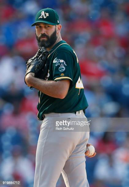 Chris Hatcher of the Oakland Athletics in action against the Philadelphia Phillies during a game at Citizens Bank Park on September 17 2017 in...