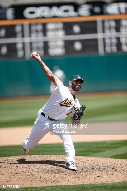 Chris Hatcher of the Oakland Athletics pitches during the game against the Kansas City Royals at the Oakland Alameda Coliseum on August 16 2017 in...