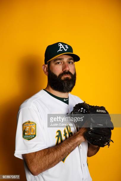 Chris Hatcher of the Oakland Athletics poses for a portrait during photo day at HoHoKam Stadium on February 22 2018 in Mesa Arizona