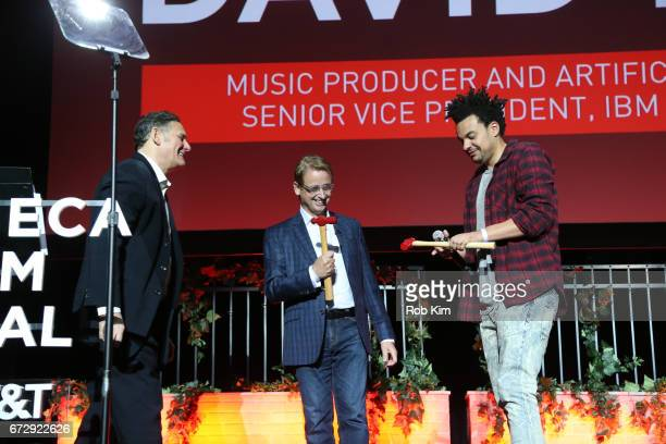 Chris Hatkoff David Kenny and Alex da Kid attend the TDI Awards during the 2017 Tribeca Film Festival at Spring Studios on April 25 2017 in New York...