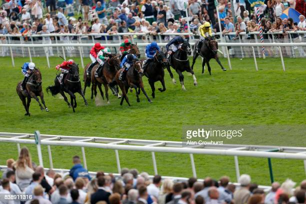Chris Hayes riding Talaayeb win The Sky Bet City Of York Stakes at York racecourse on August 25 2017 in York England