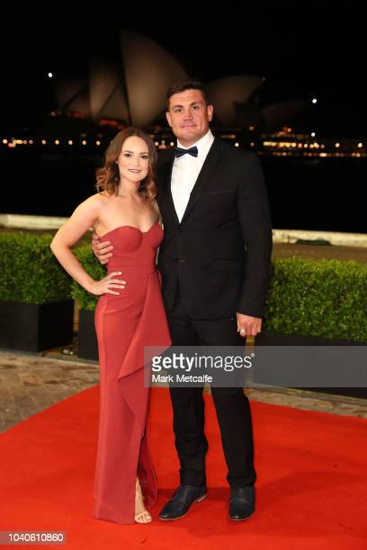 Chris Heighington and his wife Sonia Heighington arrive at the 2018 Dally M Awards at Overseas Passenger Terminal on September 26 2018 in Sydney...