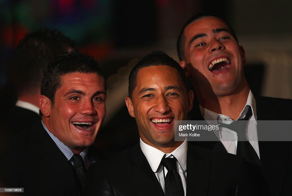 Chris Heighington, Benji Marshall and Andrew Fifita laugh as they arrive on the red carpet as they arrive at the 2010 Dally M Awards at the State Theatre on September 7, 2010 in Sydney, Australia.