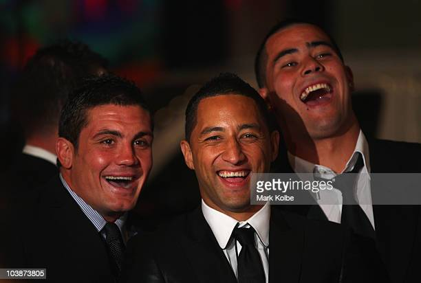 Chris Heighington, Benji Marshall and Andrew Fifita laugh as they arrive on the red carpet as they arrive at the 2010 Dally M Awards at the State...