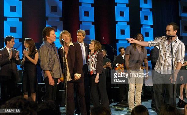 Chris Heinz Alexandra Kerry John Fogerty Jon Bon Jovi Senator John Kerry Teresa Heinz Kerry Boyd Tinsley and Dave Matthews onstage at Radio City...