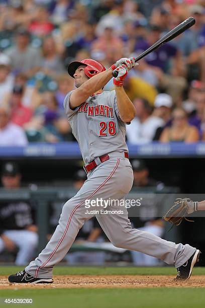 Chris Heisey of the Cincinnati Reds bats against the Colorado Rockies at Coors Field on August 17 2014 in Denver Colorado