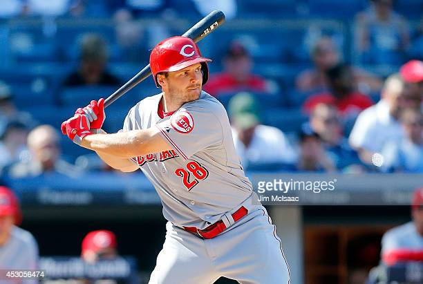 Chris Heisey of the Cincinnati Reds in action against the New York Yankees at Yankee Stadium on July 20 2014 in the Bronx borough of New York City...