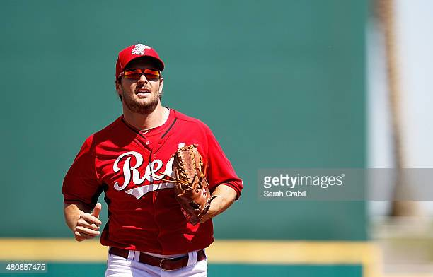 Chris Heisey of the Cincinnati Reds looks on during a game against the Kansas City Royals at Goodyear Ballpark on March 21 2014 in Goodyear Arizona