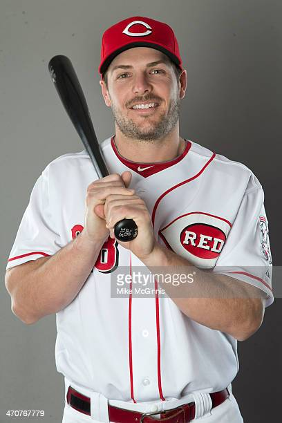Chris Heisey of the Cincinnati Reds poses for a picture during picture day on February 20 2014 in Goodyear Park Arizona