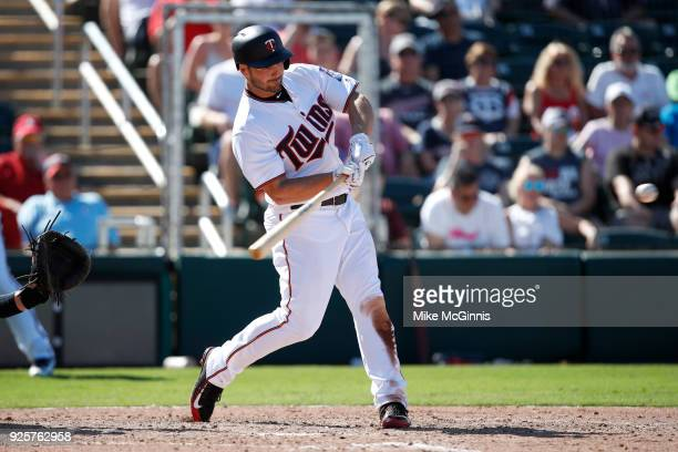 Chris Heisey of the Minnesota Twins in action during the Spring Training game against the St Louis Cardinals at Hammond Stadium on February 26 2018...