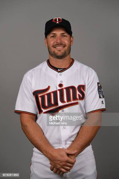 Chris Heisey of the Minnesota Twins poses during Photo Day on Wednesday February 21 2018 at CenturyLink Sports Complex in Fort Myers Florida