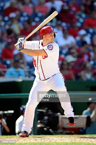 Chris Heisey of the Washington Nationals bats against the Colorado Rockies at Nationals Park on August 28 2016 in Washington DC