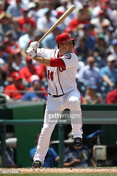Chris Heisey of the Washington Nationals bats against the New York Mets at Nationals Park on May 25 2016 in Washington DC