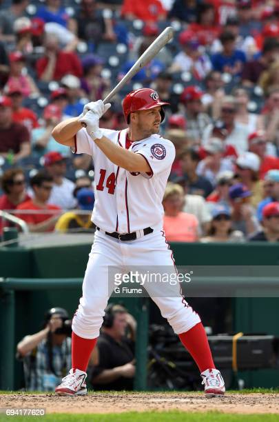 Chris Heisey of the Washington Nationals bats against the New York Mets at Nationals Park on April 29 2017 in Washington DC