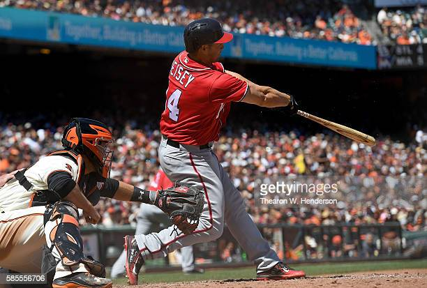 Chris Heisey of the Washington Nationals bats against the San Francisco Giants in the top of the six inning at ATT Park on July 31 2016 in San...