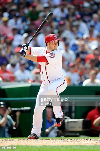 Chris Heisey of the Washington Nationals bats against the San Francisco Giants at Nationals Park on August 7 2016 in Washington DC