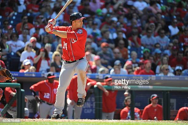 Chris Heisey of the Washington Nationals bats during the game against the Philadelphia Phillies on April 17 2016 at Citizens Bank Park in...