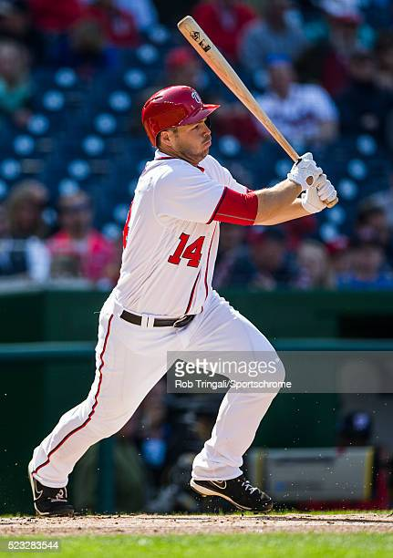 Chris Heisey of the Washington Nationals bats during the game against the Atlanta Braves at Nationals Park on April 14 2016 in Washington DC