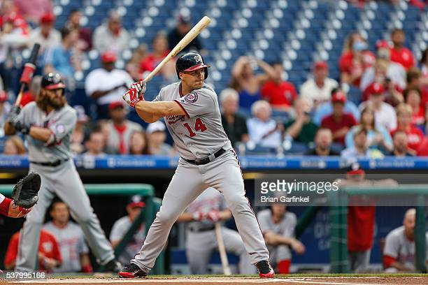 Chris Heisey of the Washington Nationals bats during the game against the Philadelphia Phillies at Citizens Bank Park on June 1 2016 in Philadelphia...