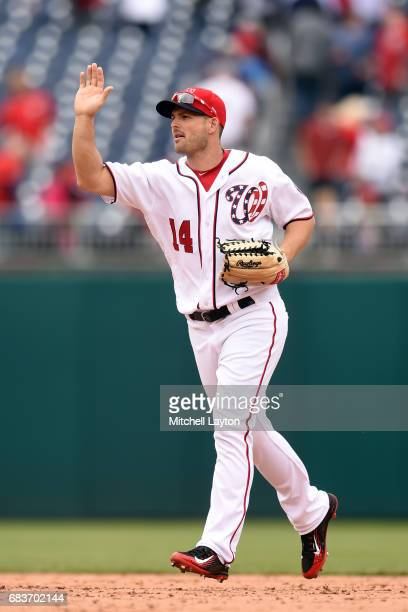 Chris Heisey of the Washington Nationals celebrates a win after a baseball game against the Arizona Diamondbacks at Nationals Park on May 4 2017 in...