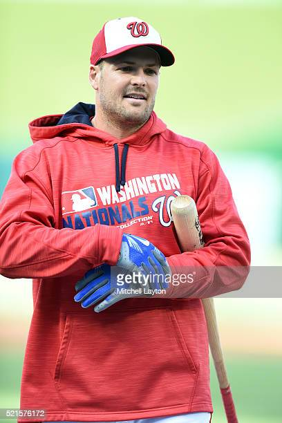 Chris Heisey of the Washington Nationals looks on during batting practice before a baseball game against the Atlanta Braves at Nationals Park on...