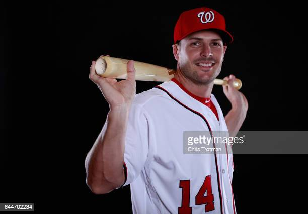 Chris Heisey of the Washington Nationals poses for a portrait during Washington Nationals Photo Day at The Ballpark of the Palm Beaches on February...