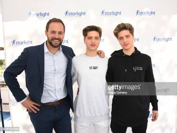 Chris Helfrich CEO Starlight and The Martinez Twins attend the Starlight Children's Foundation's DesignaGown Launch Event at LACUSC Medical Center on...