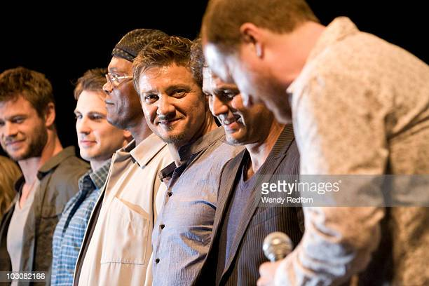 Chris Helmsworth Chris Evans Samuel L Jackson Jeremy Renner Mark Ruffalo and Joss Whedon appear at The Avengers panel at ComicCon on July 24 2010 in...