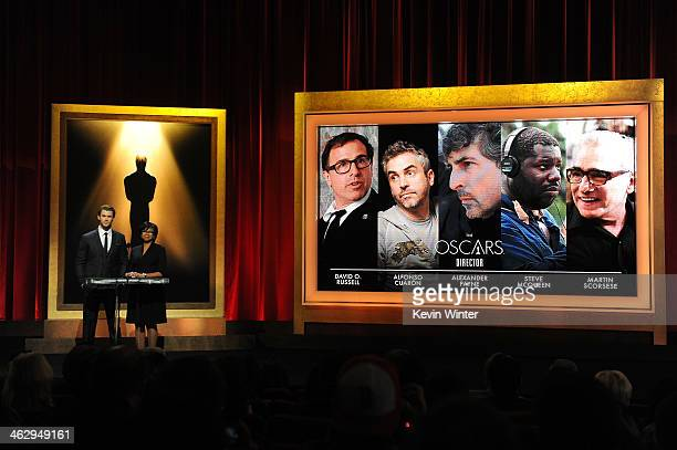 Chris Hemsworth and Academy President Cheryl Boone Isaacs announce the nominees for Best Director at the 86th Academy Awards Nominations Announcement...