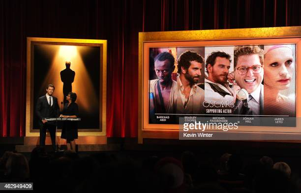Chris Hemsworth and Academy President Cheryl Boone Isaacs announce the nominees for Best Supporting Actor at the 86th Academy Awards Nominations...
