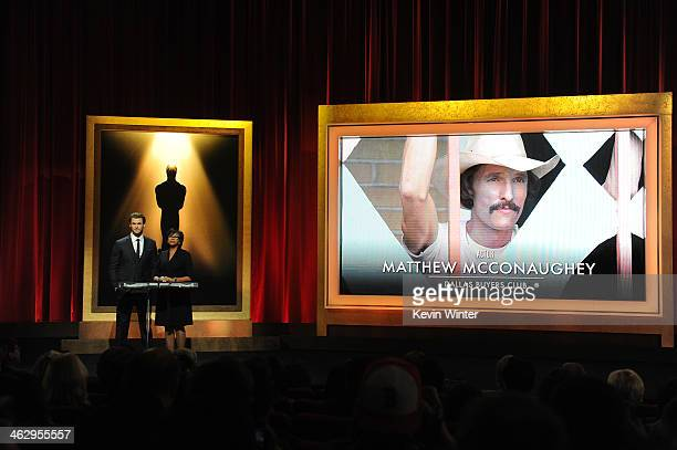 Chris Hemsworth and Academy President Cheryl Boone Isaacs announce Matthew McConaughey as a nominee for Best Actor at the 86th Academy Awards...
