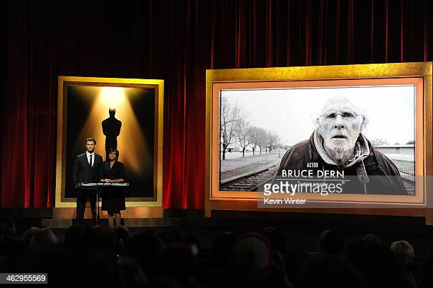 Chris Hemsworth and Academy President Cheryl Boone Isaacs announce Bruce Dern as a nominee for Best Actor at the 86th Academy Awards Nominations...