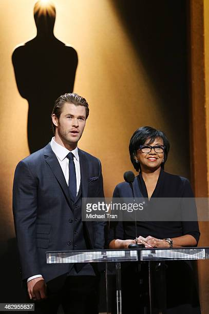 Chris Hemsworth and Academy President Cheryl Boone Isaacs announce the nominees at the 86th Academy Awards nominations announcement held at AMPAS...