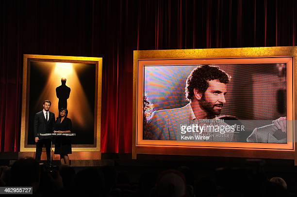 Chris Hemsworth and Academy President Cheryl Boone Isaacs announce Bradley Cooper as a nominee for Best Supporting Actor at the 86th Academy Awards...