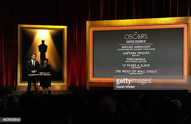 Chris Hemsworth and Academy President Cheryl Boone Isaacs announce the nominees for Best Adapted Screenplay at the 86th Academy Awards Nominations...