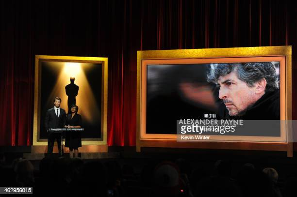 Chris Hemsworth and Academy President Cheryl Boone Isaacs announce Alexander Payne as a nominee for Best Director for the film 'Nebraska' at the 86th...