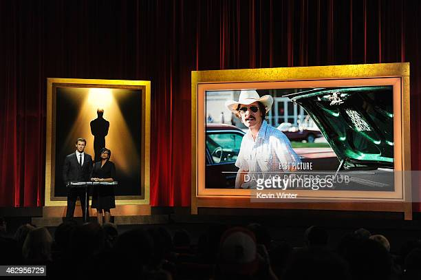 Chris Hemsworth and Academy President Cheryl Boone Isaacs announce the film 'Dallas Buyers Club' as a nominee for Best Picture at the 86th Academy...
